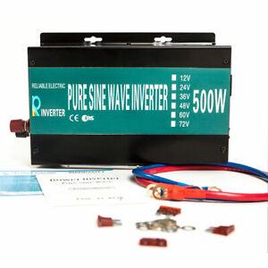 500W Solar Power Inverter 1000W Peak Pure Sine Wave 36/48V to 120/220/240V