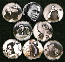 "CHARLES BUKOWSKI x 8 NEW 1"" inch pins buttons badge post office women poet RIP"