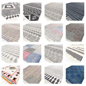 Black & White Block Print Area Dhurrie Rug Flat Weave Woven Tassel Boho Chic Boh