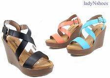 NEW Fashion Comfort Light Weight Buckle Wedge Platform Sandal Shoes Size 6 - 11