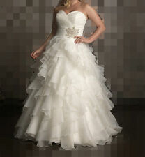 Ruffled Organza Wedding Dress Bridal Gown Custom Plus Size 16 18 20 22 24 26 28