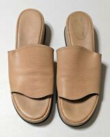 Robert Clergerie Brown Tan Leather Platform Sandals Slides Sz 10