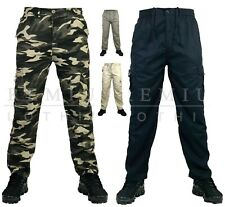 Mens MM Elasticated Plain TROUSERS Cargo Combat Lightweight Work Pant Bottoms