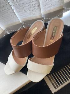 Womens Cream & Tan Block Heel Summer Sandals, Size 4; VGC