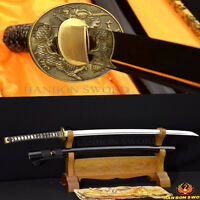 FULL TANG JAPANESE SAMURAI DRAGON SWORD WAKIZASHI 1060 HIGH CARBON STEEL SHARP