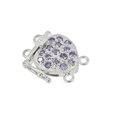 Fine Sterling Silver 2-Strand Pearl Heart Box Clasp with CZ Amethyst #51111