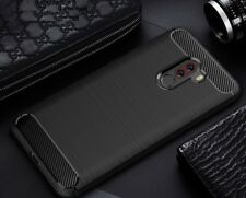 For Xiaomi Pocophone F1 Case Carbon Fibre Cover & Glass Screen Protector