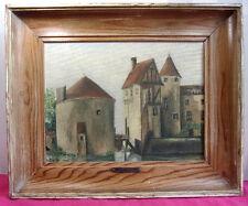 """PEINTURE SUR TOILE """" Le château de La Brède """"  signée P. Huart Circa 1945 49x39"""