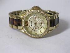 Fossil Es-3343 Ladies Gold Tortoise Riley Chronograph Glitz Watch Nice!