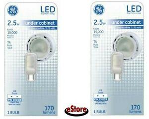 Two (2) GE 2.5W LED T4 Warm White Under Cabinet Light Bulb 170 Lumens G8 Base