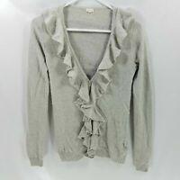 J Crew Women Wool Sweater S Soft Cardigan Ruffle L/S Ribbed Knit Career Work