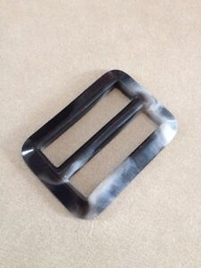 Vintage Mid Century Gray Marbled Plastic Belt Buckle Sewing Notion 5.5cm