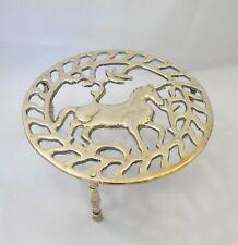 Good Vintage Round Brass Trivet - c1900 - Horse Motif - Fireplace