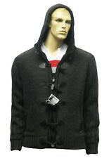 Lambretta Knitted Duffle Sherpa Hoodie Toggles Hooded Jacket Knit Grey Mens