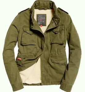 Superdry Rookie Military Dark Khaki Winter Jacket Medium  12 Womens CLEARANCE