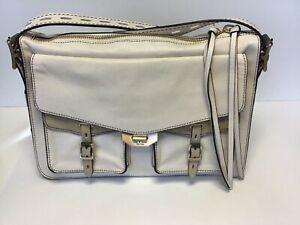 Rag & Bone Field Leather Messenger Crossbody Bag Micro Croc Antiq. White-Sample