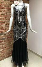 Miss Selfridge Black Sequins Flapper Gatsby 1920s Party Maxi Dress Size 10 BNWT