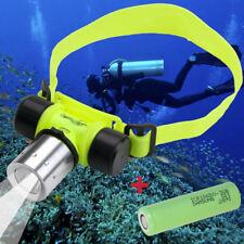 Cree LED Stirnlampe Wasserdicht Licht Lampe zum Tauchen Diving Lamp +Akku im Set