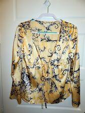 St John Yellow Black Grey Floral Silk Blend Long Sleeve Top Blouse 6