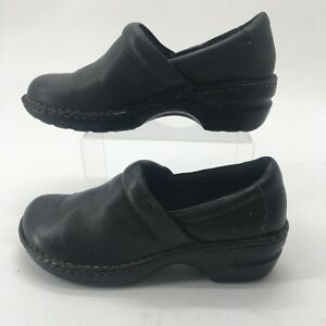BOC Born Concept Women 10M Peggy Slip On Clog Comfort Shoes Black Leather BC3632