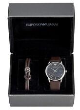 Emporio Armani Luigi Brown Leather Men Watch and Bracelet Gift Set AR80008 New