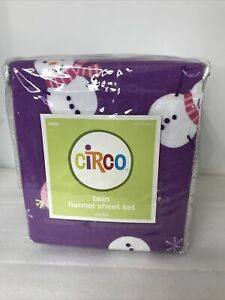Circo Flannel Twin Sheet Set  SNOWMEN & SNOWFLAKES New Purple New in Package