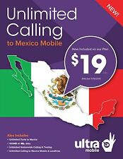 PRELOADED NEW ULTRA MOBILE DUAL SIM CARD w/ $19 LTE UNLIMITED CALLING MEXICO