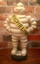 "Michelin Man Bibendum Detroit Reg. 1918 Vintage Cast Iron 15.5"" Statue on Tire"