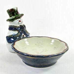 "St. Nicholas Square FOREST FRIENDS 6"" Figural Snowman Snack Bowl Candy Dish Mint"