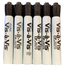 Expo Vis A Vis Markers Chisel Tip Wet Wipe Black 6 Pack