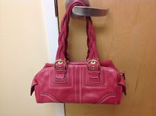 Coach Pink/fushia BRAIDED LEATHER TOTE BAG PURSE SATCHEL