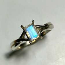 Natural blue Rainbow Moonstone 925 silver /9ct 14k 18k Gold Platinum ring