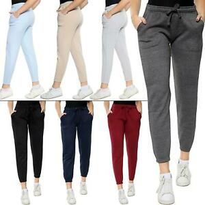 Womens Plain Fleece Yoga Sweatpants Ladies Casual Gym Joggers Bottom Trouser