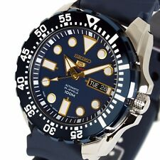 New SEIKO 5 SPORTS DIVERS BLUE RUBBER STRAP  BLUE FACE SRP605J2