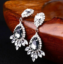 Big Crystal Drop Earrings Diamante Bridal Rhinestone Silver Dangle Wedding Prom