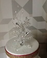 STUNNING WEDDING/CAKE DECORATION CRYSTAL FLOWER/SILVER DIAMANTÉ COIL CAKE TOPPER