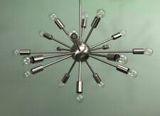 Brushed Chrome 18 Lights Arms Mid-century Sputnik Chandelier Light Fixture