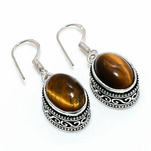 """Tiger Eye Gemstone Handmade 925 Sterling Silver Jewelry Earring 1.38 """" D533"""