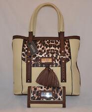 GUESS Virginia Beach Tote Shopper Bag Purse Wallet Set Cream Leopard Tassel New