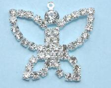 5x Cristales Tipo Piedrería con baño de Plata Mariposa Dije Colgantes
