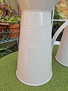 PAIR PALE PINK METAL JUGS 'ENJOY THE MOMENTS' kitchen~flowers~display~décor~VGC