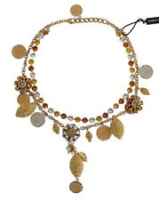 NEW DOLCE & GABBANA Necklace Gold Brass Lemons Floral Crystal Coin Charms