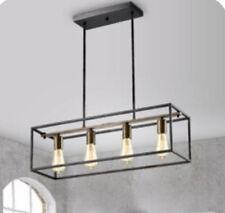 BOKT Contemporary Minimalist 4 Light Kitchen Island Pendant, Modern Chandelier Pendant Light, Geometric Modern Linear Chandelier Lighting Fixture with