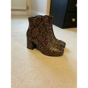 Topshop Brown Snakeskin Boots Size 7