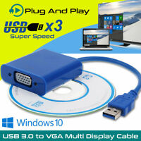USB 3.0 to VGA Multi-Display Cable Video Display Adapter Lead for Windows 7 8 10