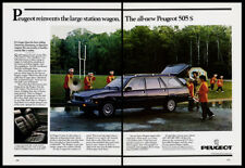 Peugeot 505S station wagon print ad 1983 navy car, band members, football field
