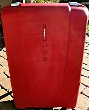 LARGE RED DELSEY TROLLY LUGGAGE HARD MOLDED PLASTIC, 4 WHEEL SPINNER, COMBO LOCK
