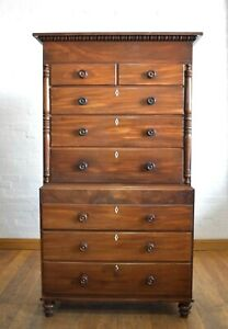 Large Antique Victorian chest on chest straight front chest of drawers
