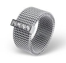 Stainless Steel Women's 8mm Wide Mesh Ring with Cubic Zirconia CZ Band Size 6
