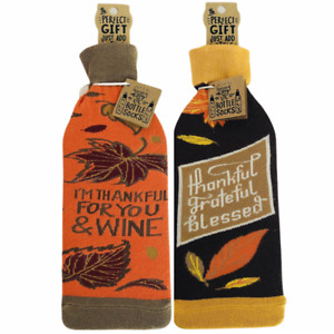Primitives By Kathy Wine Bottle Cover Sock Thankful Grateful Blessed Set of Two